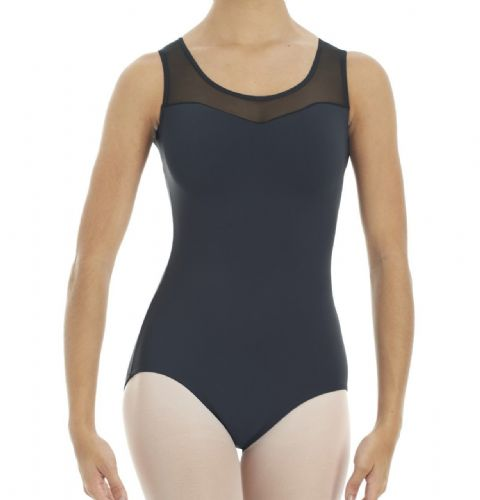 INTERMEZZO 31290 Dance Leotard Tank Style Sheer Mesh Insert Black Girls / Adults